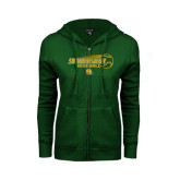 ENZA Ladies Dark Green Fleece Full Zip Hoodie-Southeastern Baseball w/ Ball
