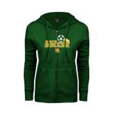 ENZA Ladies Dark Green Fleece Full Zip Hoodie-Southeastern Soccer Swoosh w/ Ball