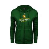 ENZA Ladies Dark Green Fleece Full Zip Hoodie-Volleyball Can You Dig It