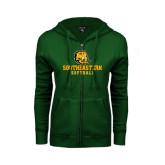 ENZA Ladies Dark Green Fleece Full Zip Hoodie-Softball