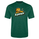 Performance Dark Green Heather Contender Tee-Lions w/Lion