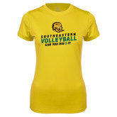 Ladies Syntrel Performance Gold Tee-Volleyball Can You Dig It