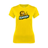 Ladies Syntrel Performance Gold Tee-Lions w/Lion
