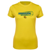 Ladies Syntrel Performance Gold Tee-Southeastern Baseball w/ Ball