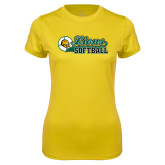 Ladies Syntrel Performance Gold Tee-Lions Softball Script w/ Ball