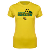 Ladies Syntrel Performance Gold Tee-Southeastern Soccer Swoosh w/ Ball