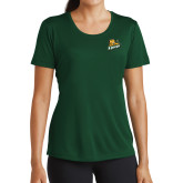 Ladies Performance Dark Green Tee-Lions w/Lion