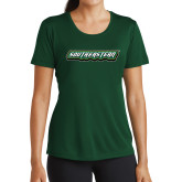 Ladies Performance Dark Green Tee-Southeastern