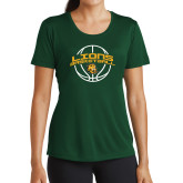 Ladies Performance Dark Green Tee-Lions Basketball w/ Ball