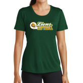 Ladies Performance Dark Green Tee-Lions Softball Script w/ Ball