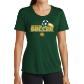 Ladies Performance Dark Green Tee-Southeastern Soccer Swoosh w/ Ball