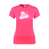 Ladies Performance Hot Pink Tee-Lions w/Lion
