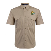 Khaki Short Sleeve Performance Fishing Shirt-Lions w/Lion
