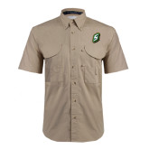 Khaki Short Sleeve Performance Fishing Shirt-S