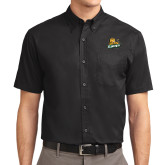 Black Twill Button Down Short Sleeve-Lions w/Lion
