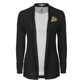 Ladies Black Open Front Cardigan-Lions w/Lion