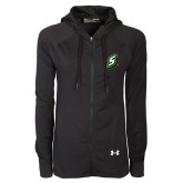 Ladies Under Armour Black Varsity Full Zip Hoodie-S