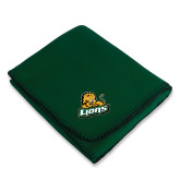 Dark Green Arctic Fleece Blanket-Lions w/Lion