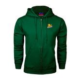 Dark Green Fleece Full Zip Hoodie-Lions w/Lion