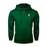 Dark Green Fleece Full Zip Hoodie-S