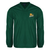 V Neck Dark Green Raglan Windshirt-Lions w/Lion