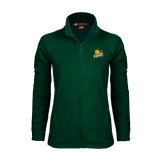 Ladies Fleece Full Zip Dark Green Jacket-Lions w/Lion