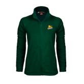 Ladies Fleece Full Zip Dark Green Jacket-Lions w/Lion