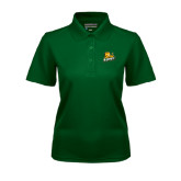 Ladies Dark Green Dry Mesh Polo-Lions w/Lion