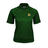 Ladies Dark Green Textured Saddle Shoulder Polo-Lions w/Lion