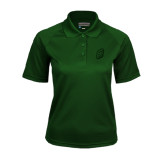 Ladies Dark Green Textured Saddle Shoulder Polo-S