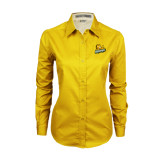 Ladies Gold Twill Button Down Long Sleeve-Lions w/Lion