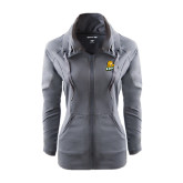 Ladies Sport Wick Stretch Full Zip Charcoal Jacket-Lions w/Lion