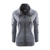 Ladies Sport Wick Stretch Full Zip Charcoal Jacket-S