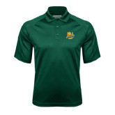 Dark Green Textured Saddle Shoulder Polo-Official Logo
