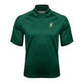 Dark Green Textured Saddle Shoulder Polo-S