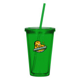 Madison Double Wall Green Tumbler w/Straw 16oz-Official Logo