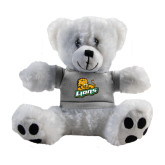 Plush Big Paw 8 1/2 inch White Bear w/Grey Shirt-Lions w/Lion