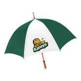 62 Inch Forest Green/White Umbrella-Lions w/Lion