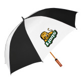 62 Inch Black/White Umbrella-Lions w/Lion