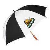 62 Inch Black/White Umbrella-Lions w/Lion