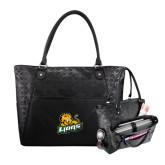 Sophia Checkpoint Friendly Black Compu Tote-Lions w/Lion