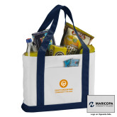 Contender White/Navy Canvas Tote-Stacked