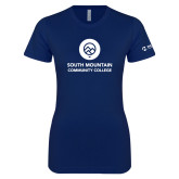 Next Level Ladies SoftStyle Junior Fitted Navy Tee-Stacked