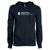Comm College ENZA Ladies Navy Fleece Full Zip Hoodie-Primary Mark