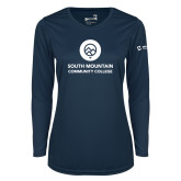 Ladies Syntrel Performance Navy Longsleeve Shirt-Stacked
