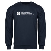 Comm College Navy Fleece Crew-Primary Mark
