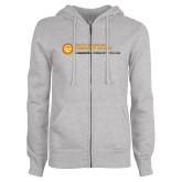 Comm College ENZA Ladies Grey Fleece Full Zip Hoodie-Primary Mark