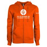 Comm College ENZA Ladies Orange Fleece Full Zip Hoodie-Stacked