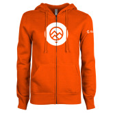 Comm College ENZA Ladies Orange Fleece Full Zip Hoodie-Icon
