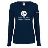 Comm College Ladies Navy Long Sleeve V Neck Tee-Stacked